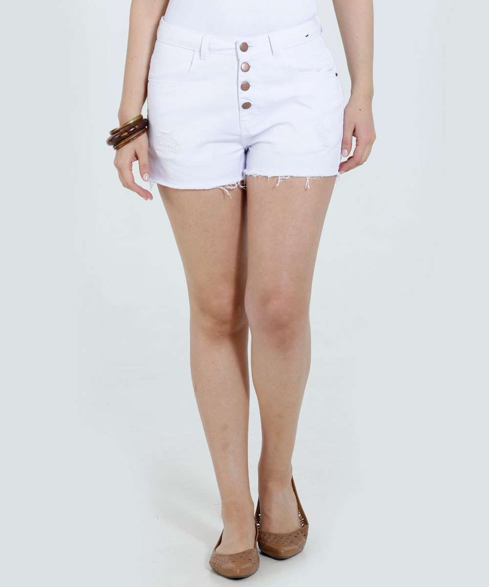 Short Feminino Jeans Botão Puídos Marisa  41383449a6dd7