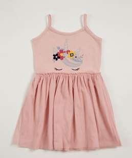 Vestido Infantil Estampa Unicórnio Alças Finas Marisa
