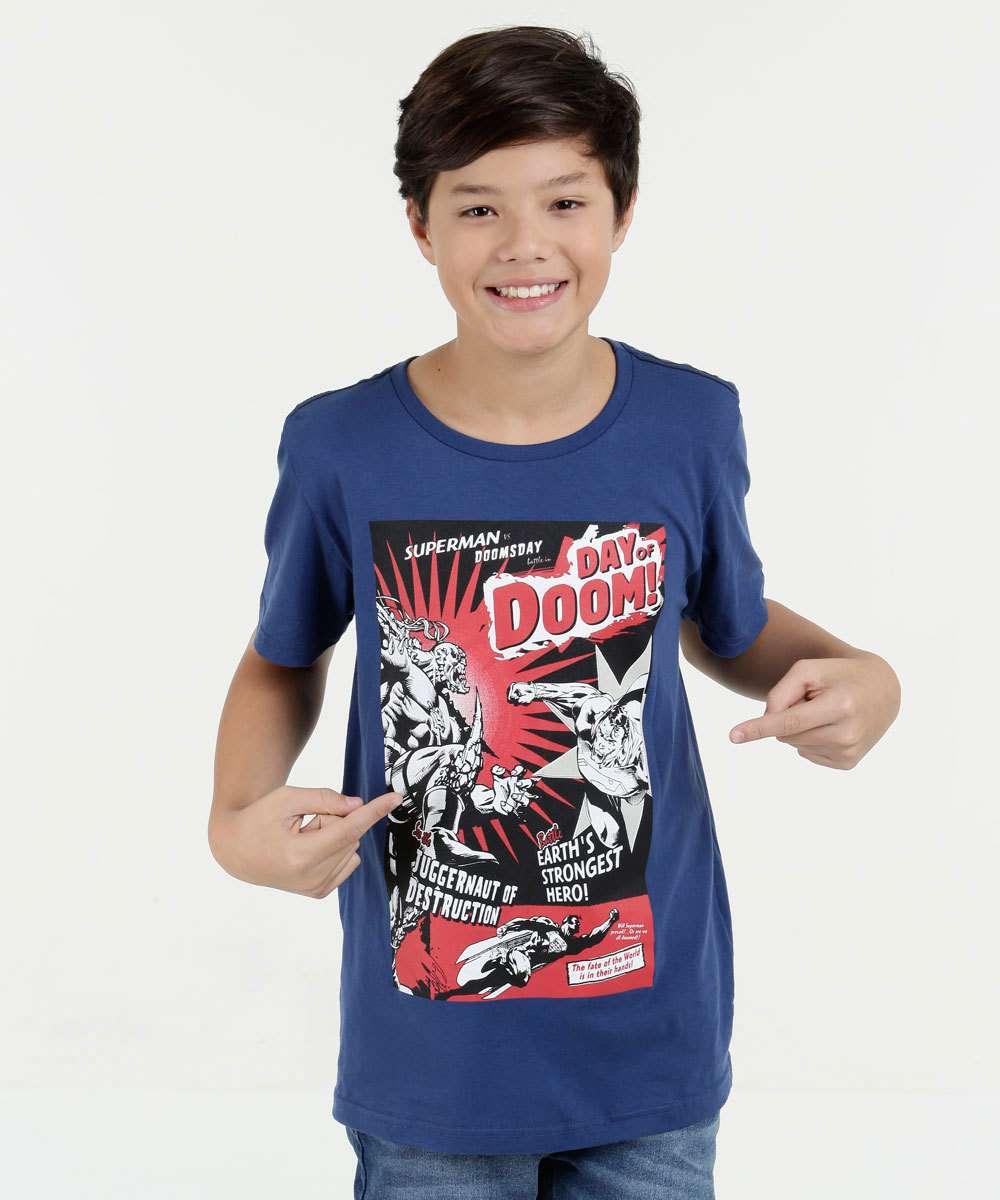 Camiseta Juvenil Super Homem Manga Curta Liga da Justiça