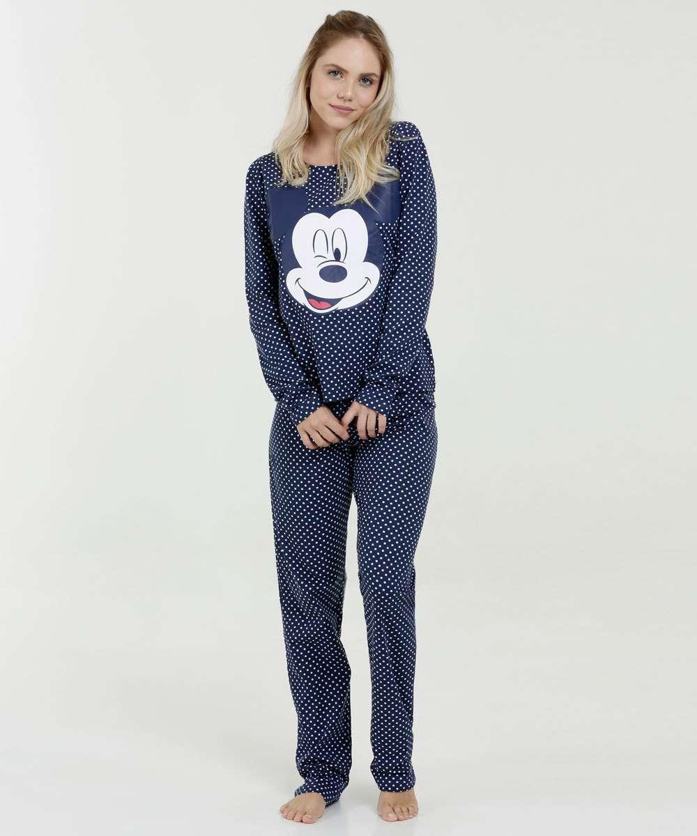 Pijama Feminino Estampa Mickey Bolinhas Manga Longa Disney