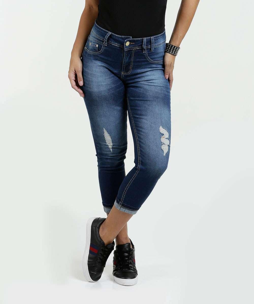Calça Feminina Jeans Capri Puídos Sawary
