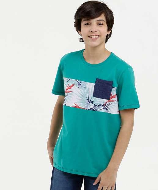Image_Camiseta Juvenil Recorte Folhas Manga Curta MR
