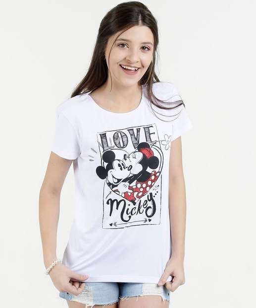 Image_Blusa Juvenil Estampa Mickey Minnie Manga Curta Disney