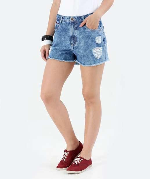Image_Short Feminino Hot Pants Marmorizado Jeans Marisa