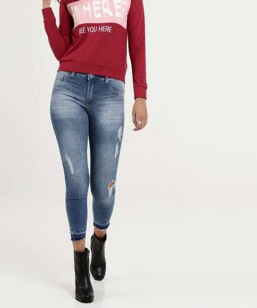 Image_Calça Feminina Jeans Destroyed Capri Strass Biotipo