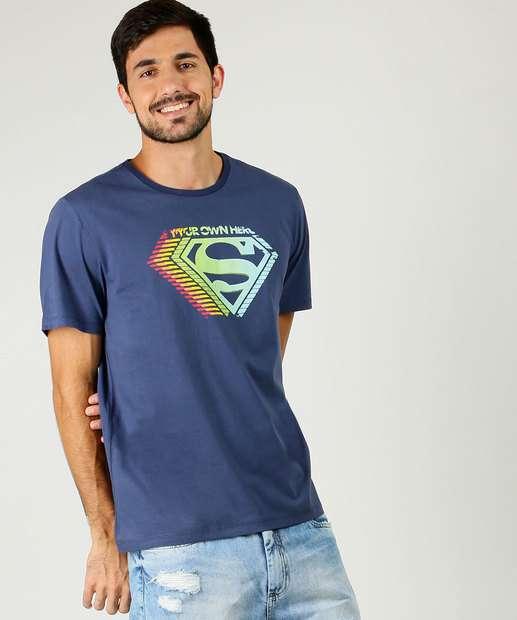 Image_Camiseta Masculina Super Homem Manga Curta Liga da Justiça