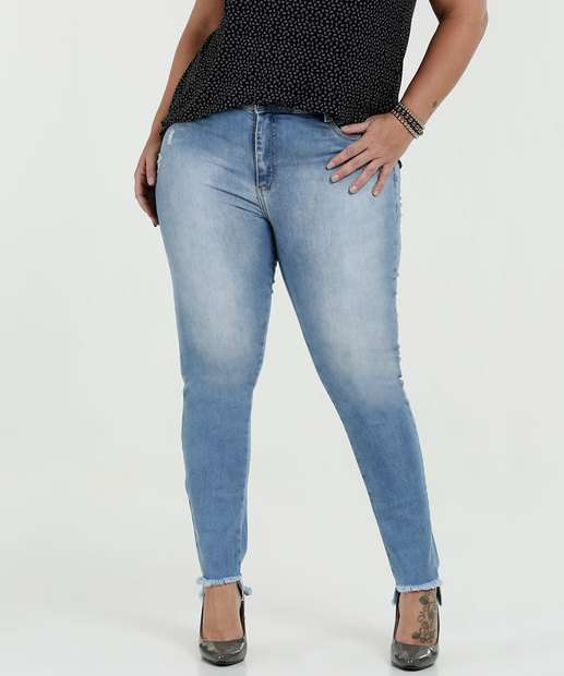 Image_Calça Feminina Jeans Skinn Puídos Plus Size Sawary