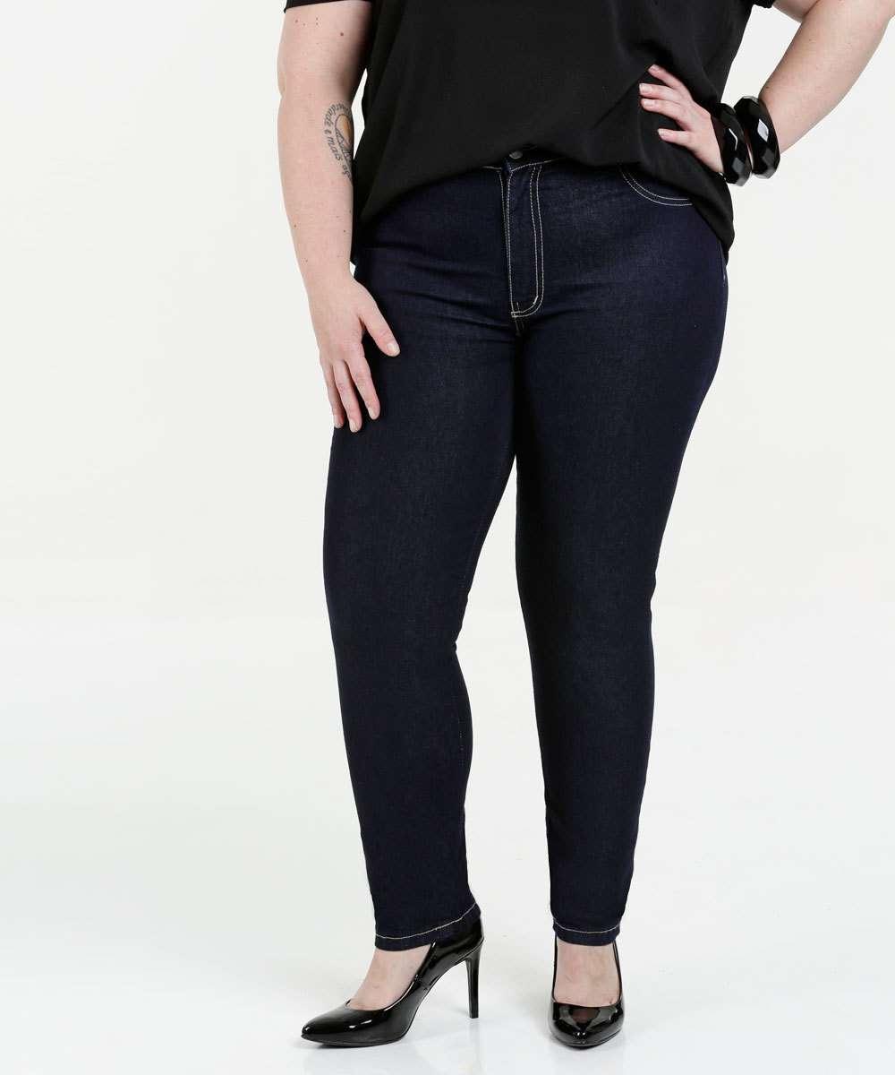 Calça Feminina Jeans Skinny Plus Size Sawary