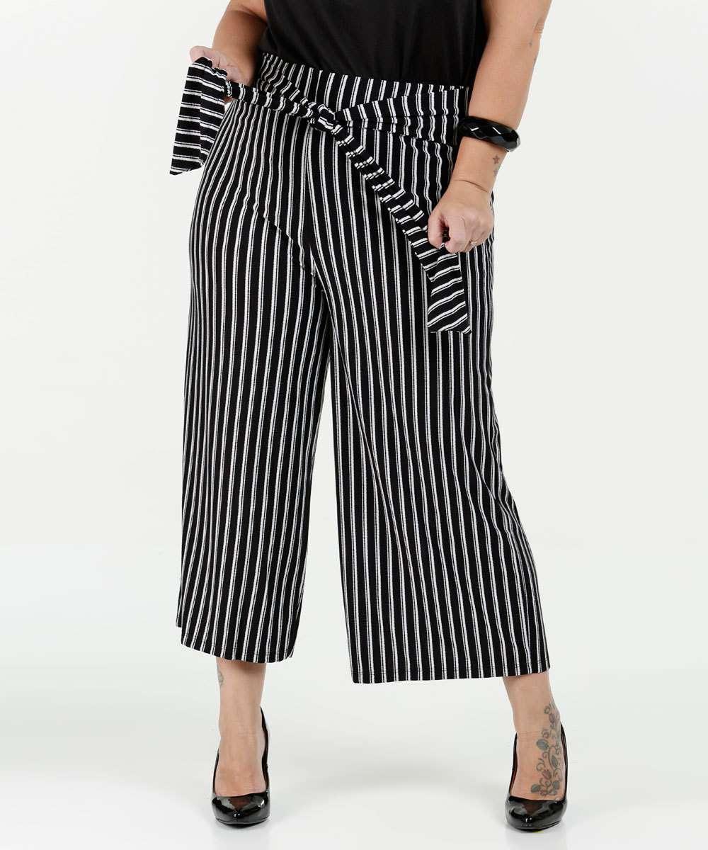 Calça Feminina Pantacourt Listrada Plus Size Marisa