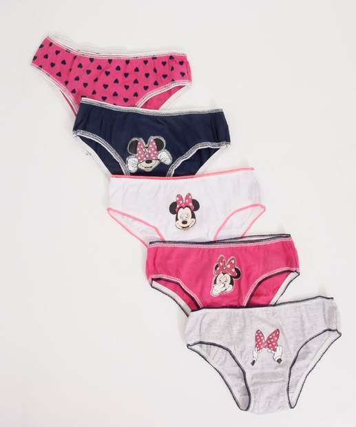Image_Kit 5 Calcinhas Infantil Estampa Minnie Disney