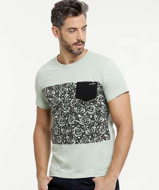Image_Camiseta Masculina Estampa Flores Manga Curta Rock & Soda