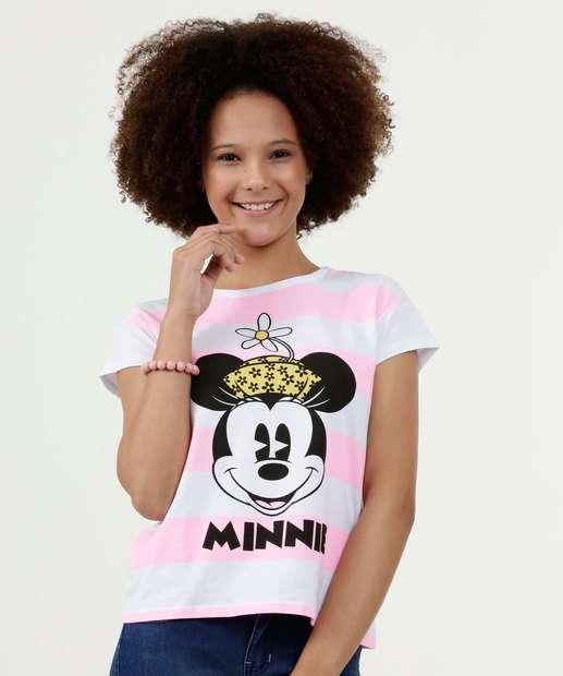 Image_Blusa Juvenil Estampa Minnie Neon Manga Curta Disney