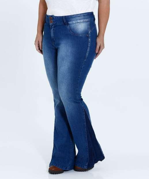 Image_Calça Feminina Jeans Flare Stretch Plus Size Mix Jeans