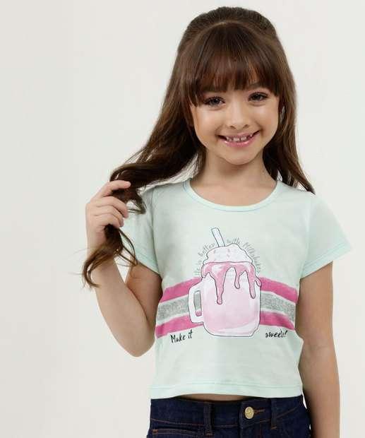 Image_Blusa Infantil Estampa Milk Shake Manga Curta