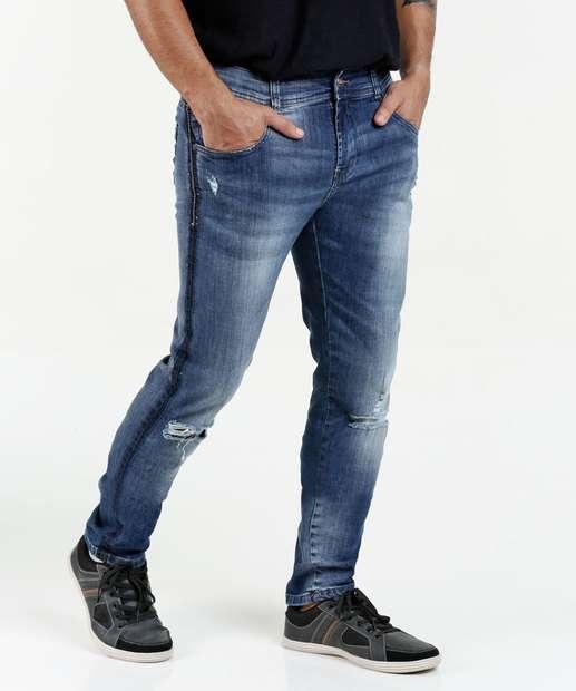 Image_Calça Masculina Jeans Skinny Destroyed Sawary