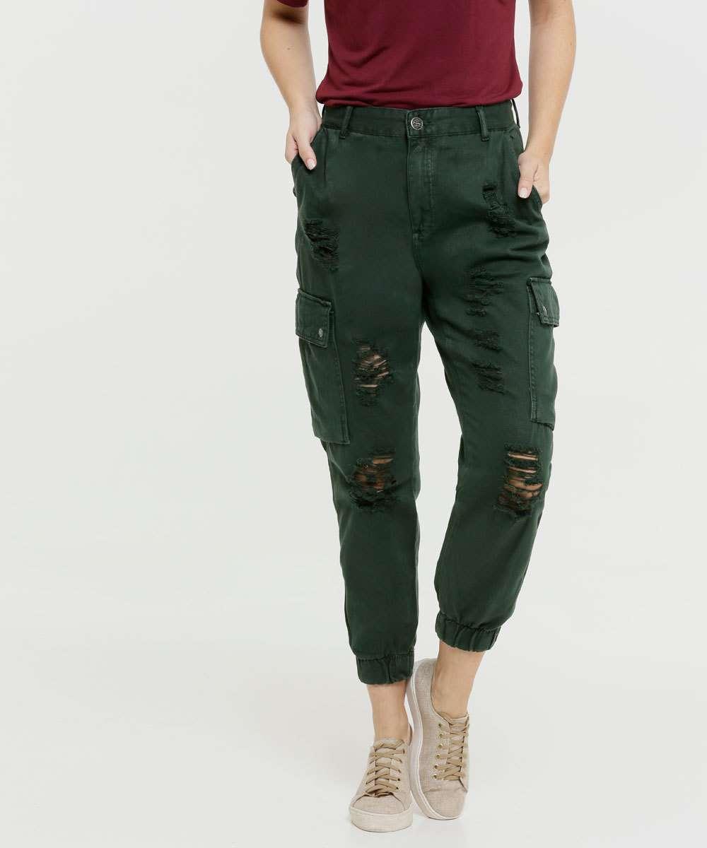 Calça Feminina Sarja Jogger Cargo Destroyed Zune Jeans