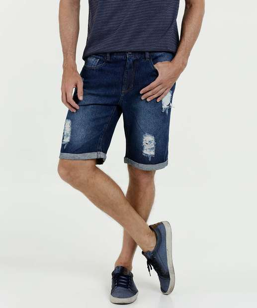 Image_Bermuda Masculina Jeans Destroyed Barra Dobrada Marisa