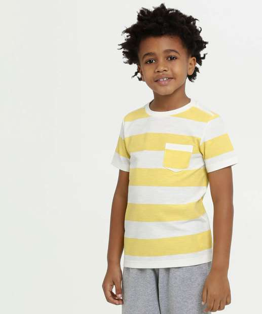 Image_Camiseta Infantil Listrada Bolso Manga Curta MR