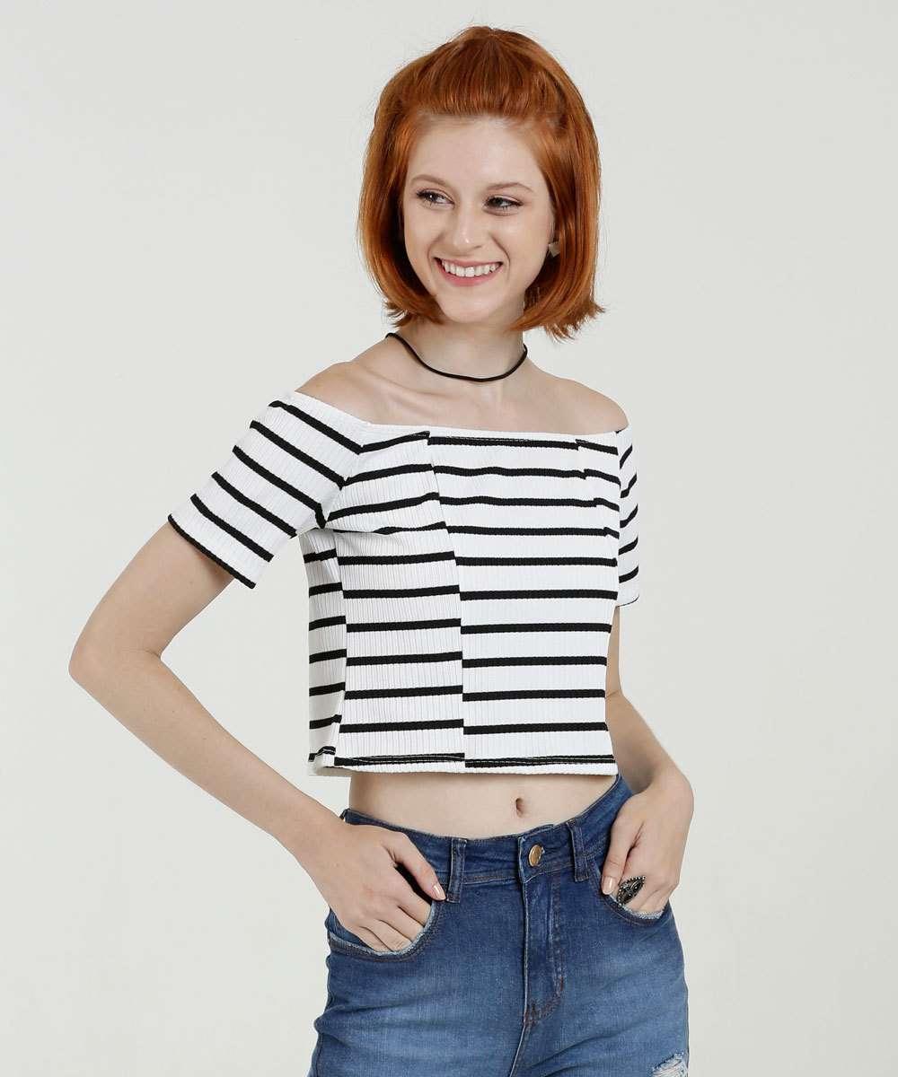 Blusa Feminina Cropped Ombro a Ombro Listrada Marisa
