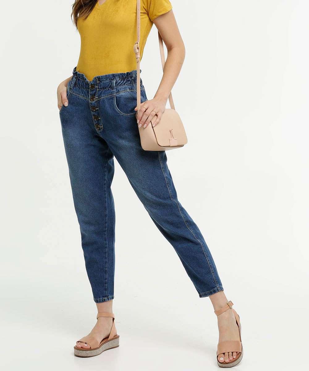 Calça Jeans Mom Feminina Botões Razon