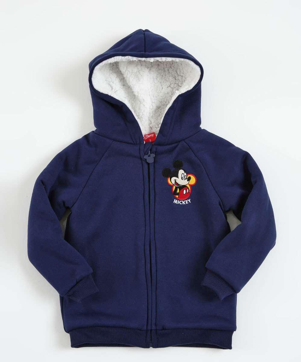 Casaco Infantil Moletom Pélucia Bordado Mickey Disney