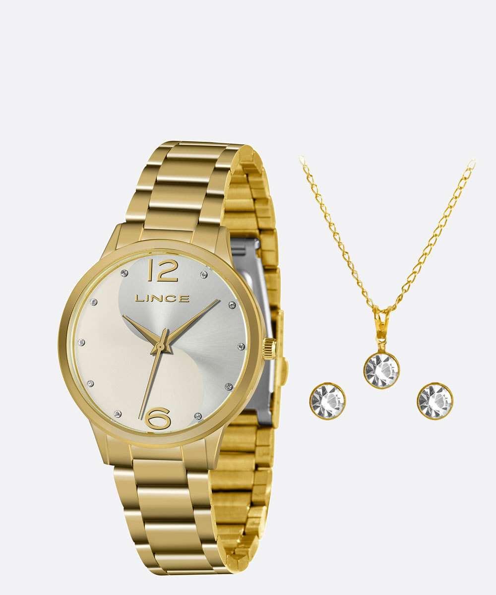 Kit Relógio Feminino Lince Strass LRGH107L KW41S2KX