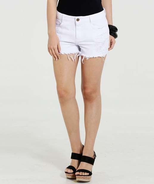 Image_Short Feminino Jeans Destroyeds Strass Marisa