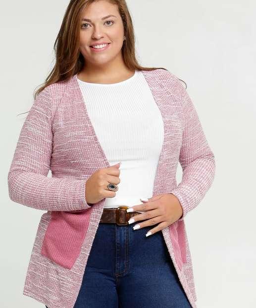 Image_Cardigan Feminino Bolsos Plus Size