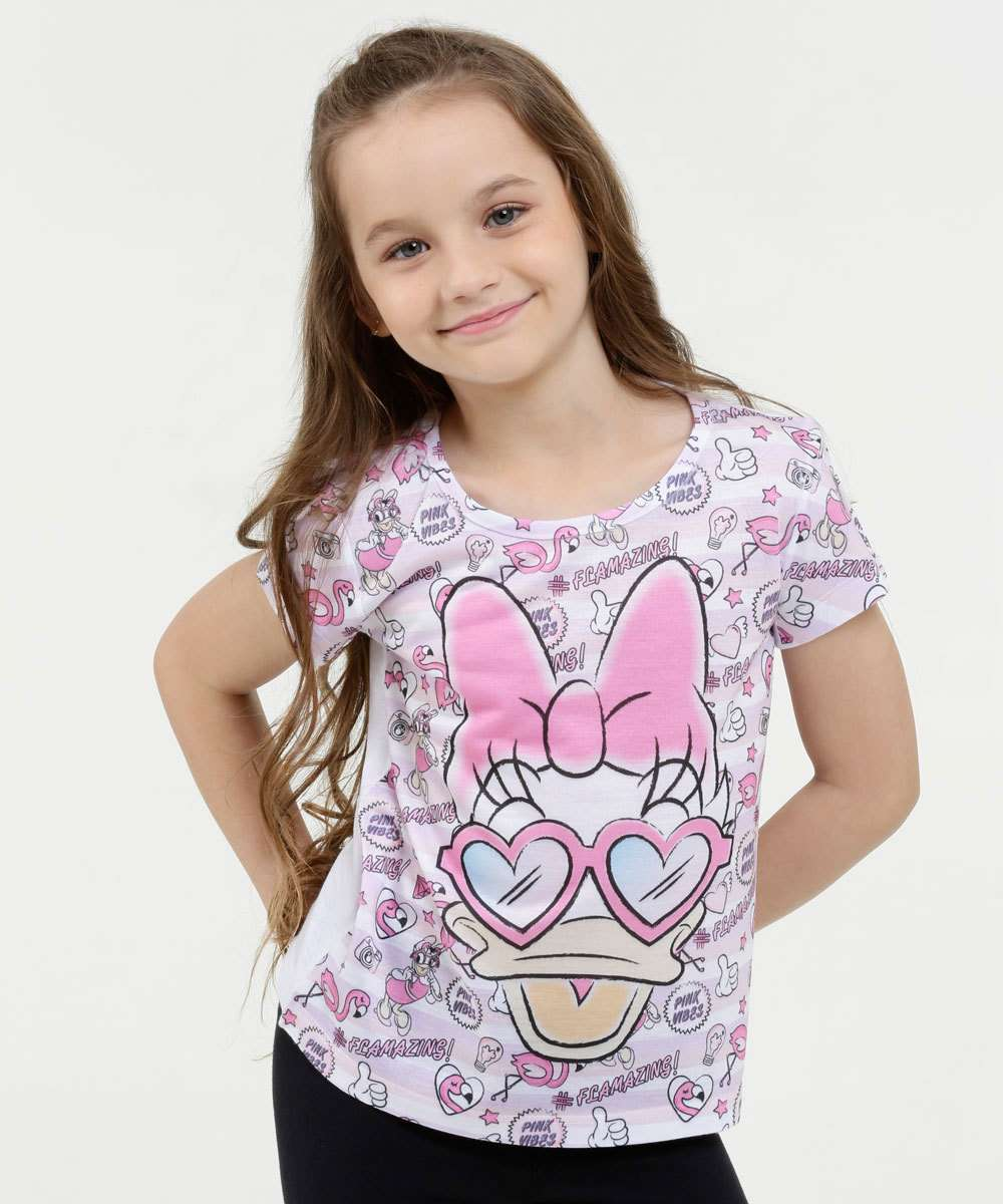 Blusa Infantil Estampa Margarida Manga Curta Disney