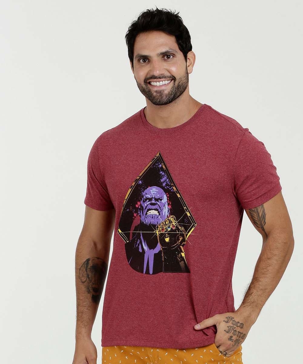 Camiseta Masculina Estampa Thanos Manga Curta Marvel