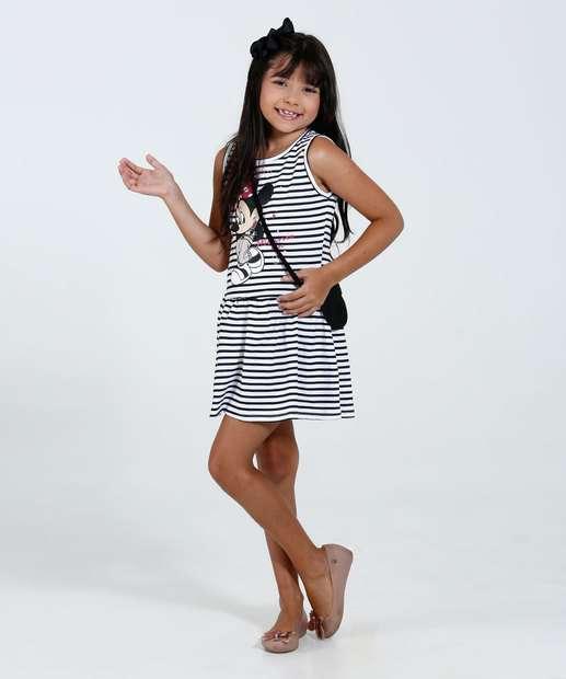Image_ Vestido Infantil Listrado Brinde Bolsa Mininie Disney