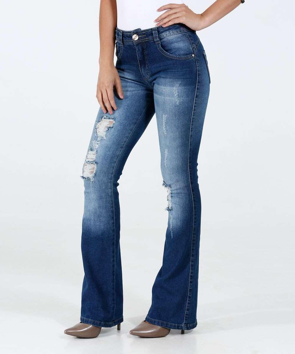 Calça Feminina Jeans Flare Destroyed Biotipo
