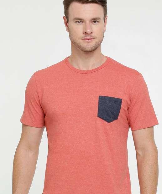 Image_Camiseta Masculina Mescla Bolso Manga Curta MR