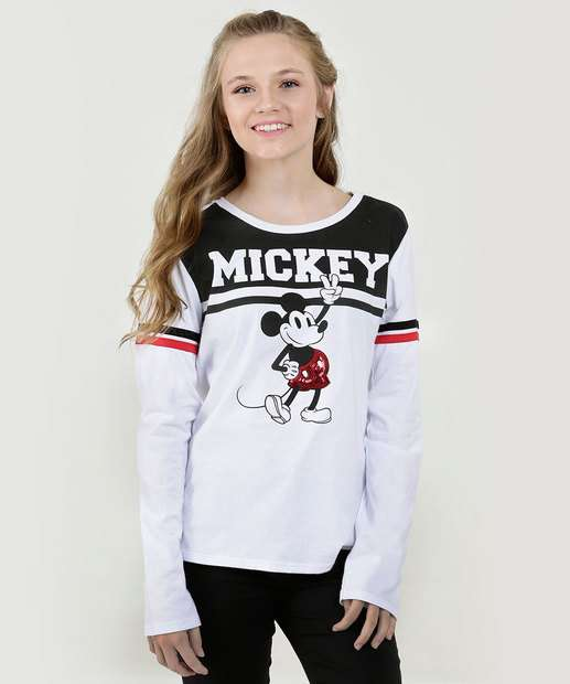 Image_Blusa Juvenil Estampa Mickey Paetês Manga Longa Disney