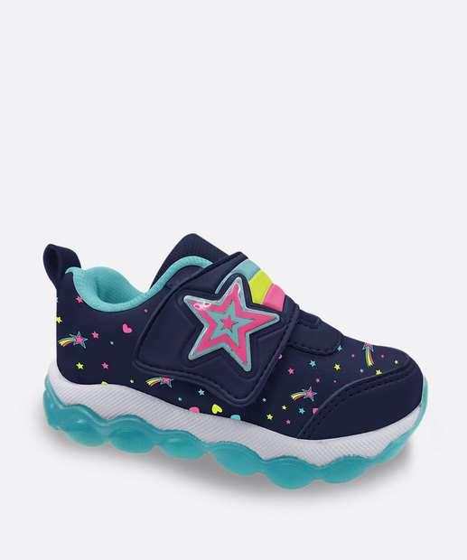 Image_Tênis Infantil Casual Velcro Luz De Led Estrelas
