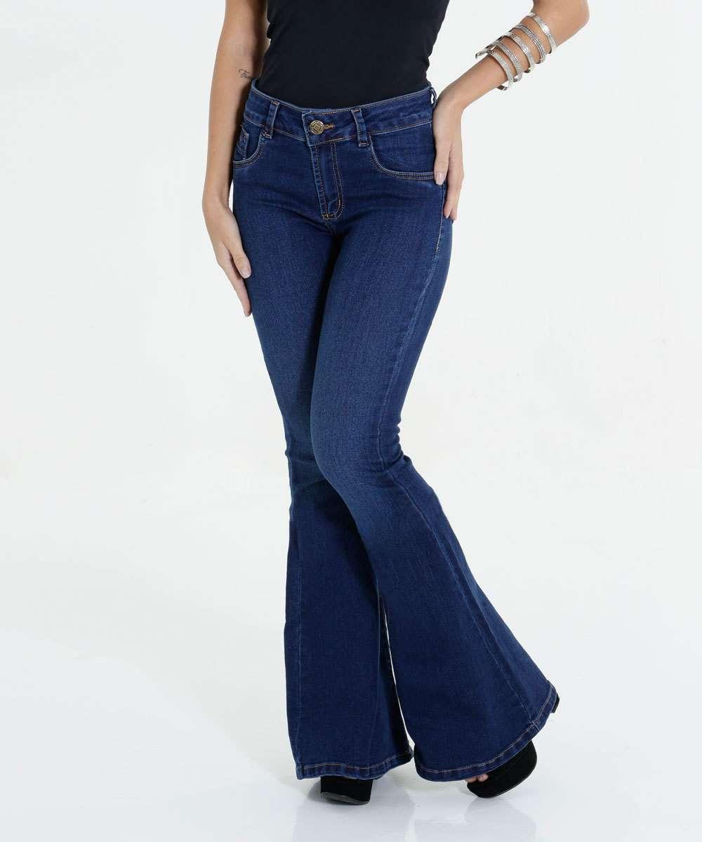 Calça Feminina Jeans Stretch Flare Sawary  c415f96c610