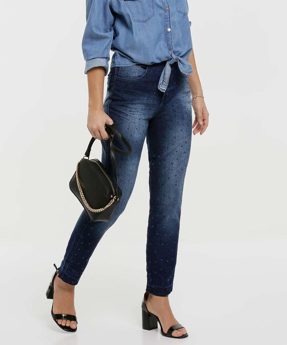 Calça Mom Jeans Feminina Paetês Biotipo