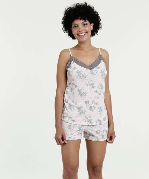 Image_Pijama Feminino Short Doll Estampa Flores Marisa