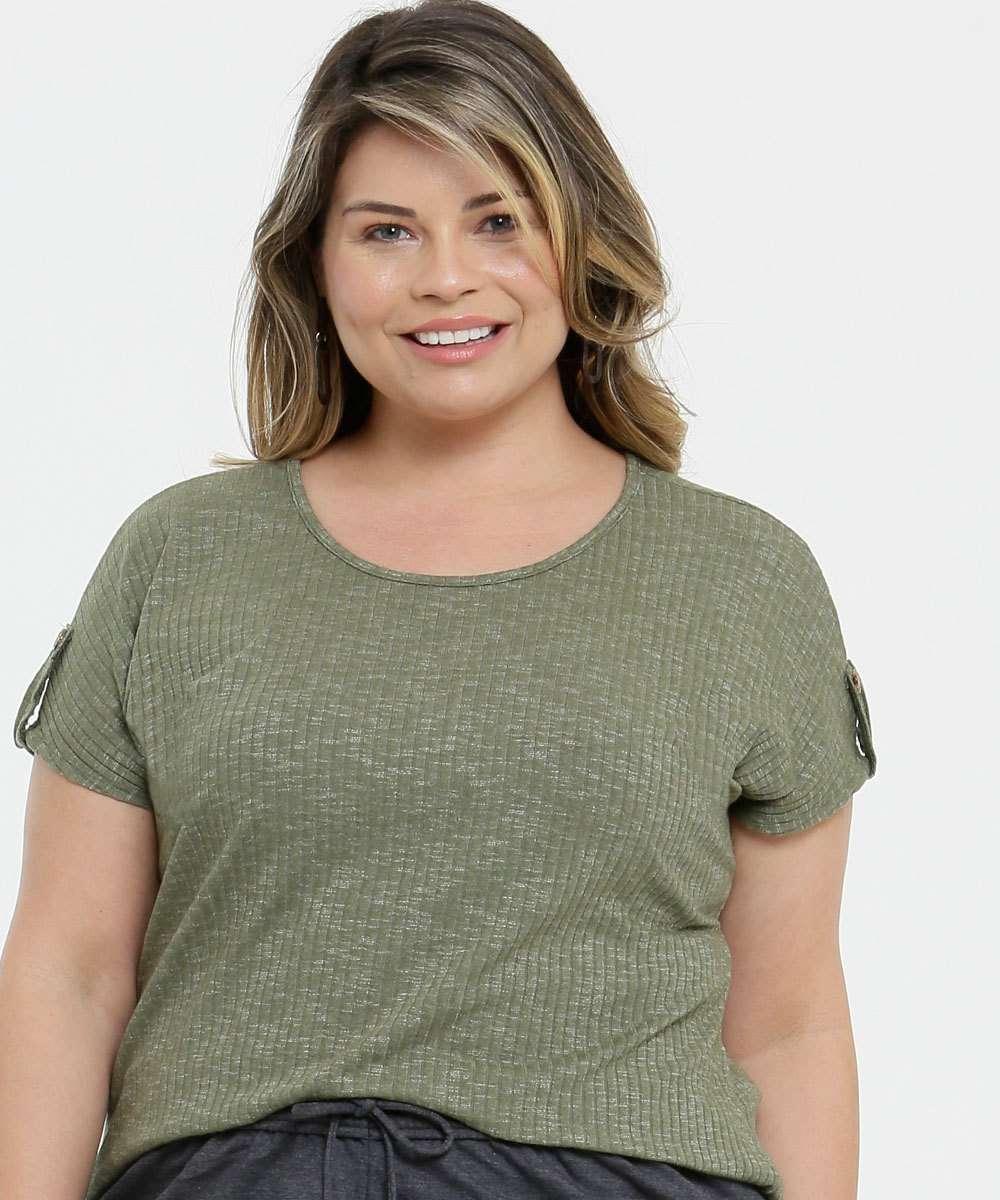 Blusa Plus Size Feminina Canelada Lecimar