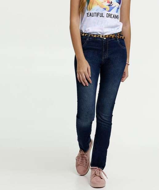 Image_Calça Juvenil Jeans Cinto Animal Print Skinny Marisa
