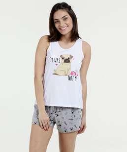 40a73b737 Pijama Feminina Short Doll Estampa Pug Marisa