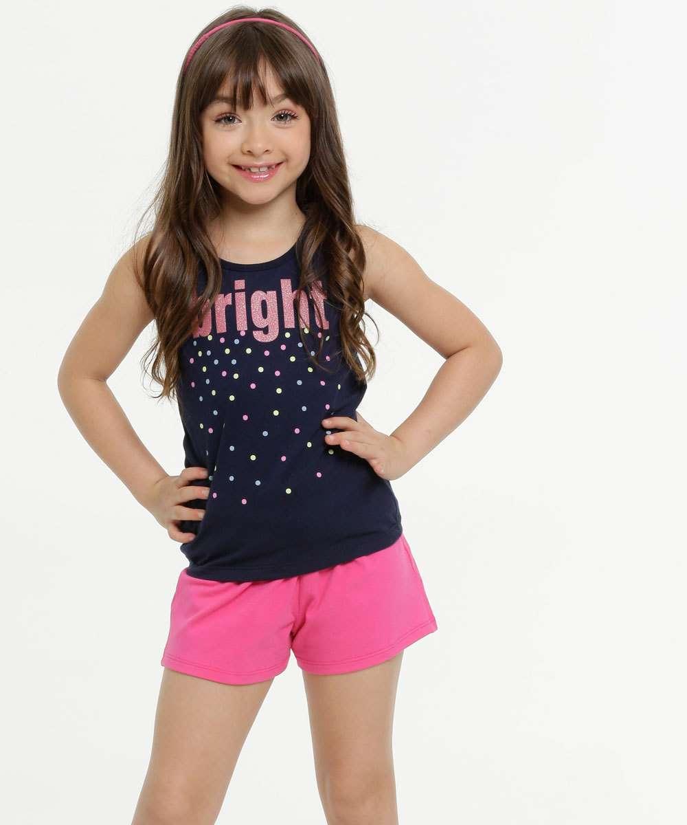 Conjunto Infantil Estampa Frontal Glitter