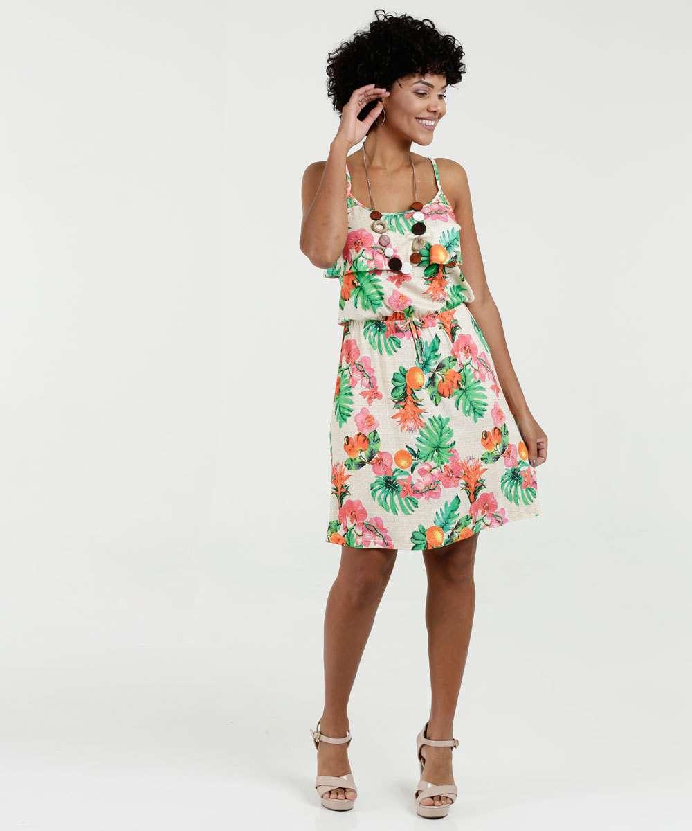 39ee0f59dc Vestido Feminino Estampa Floral Alças Finas Luktal