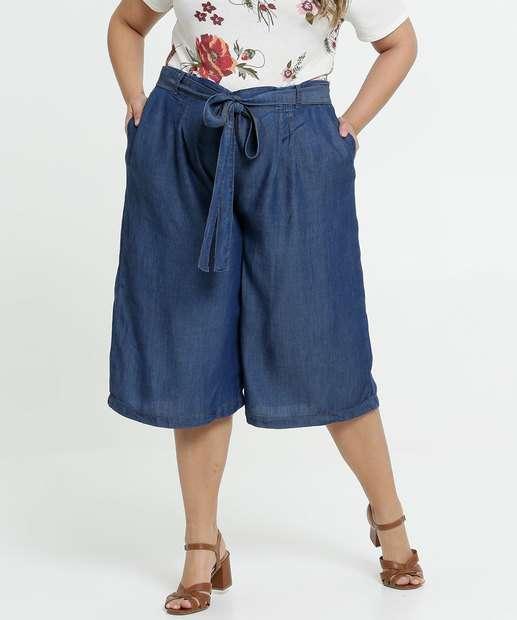 Image_Calça Feminina Jeans Pantacourt Amarração Plus Size