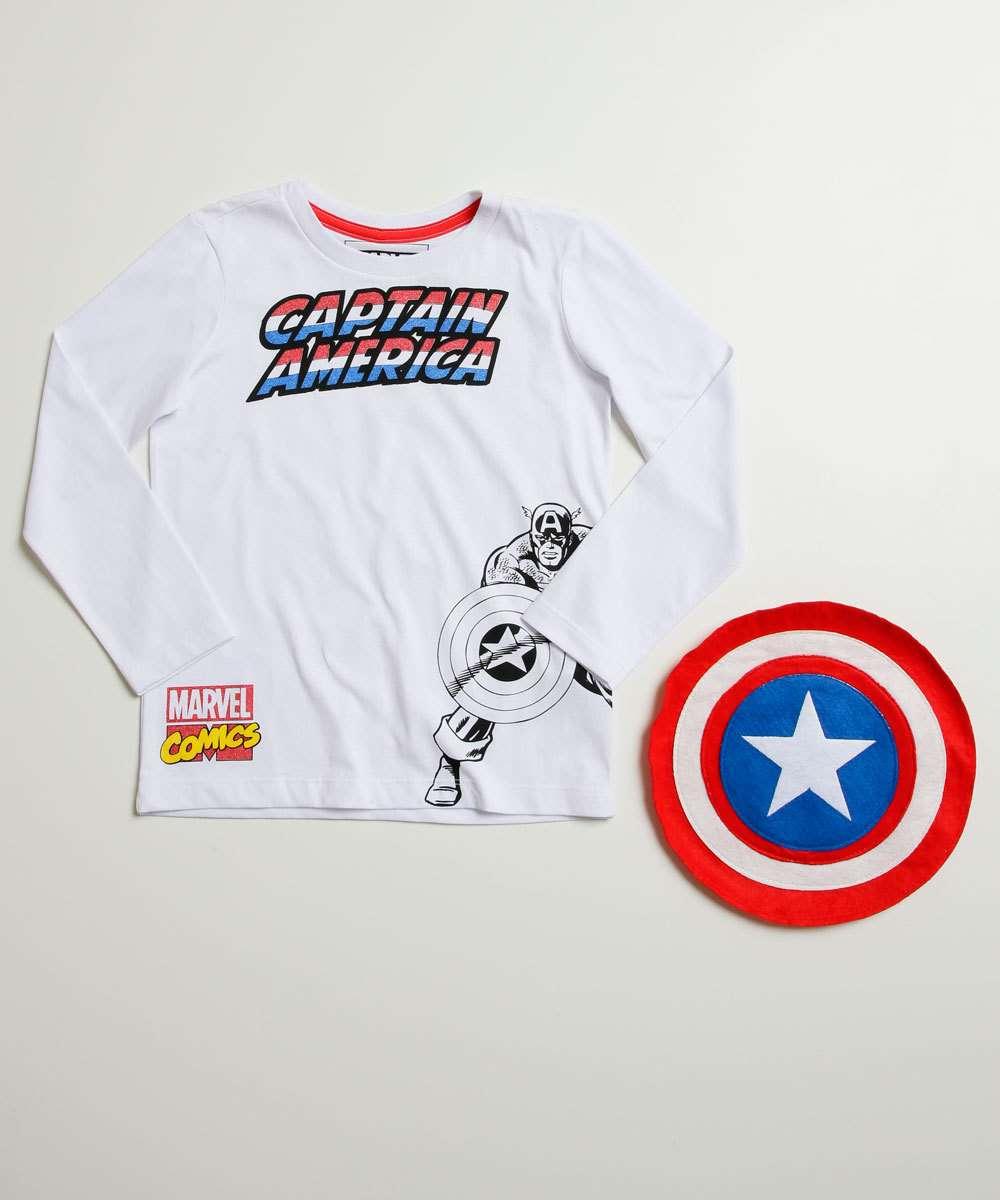 Camiseta Infantil Capitão América Brinde Marvel Tam 4 a 10