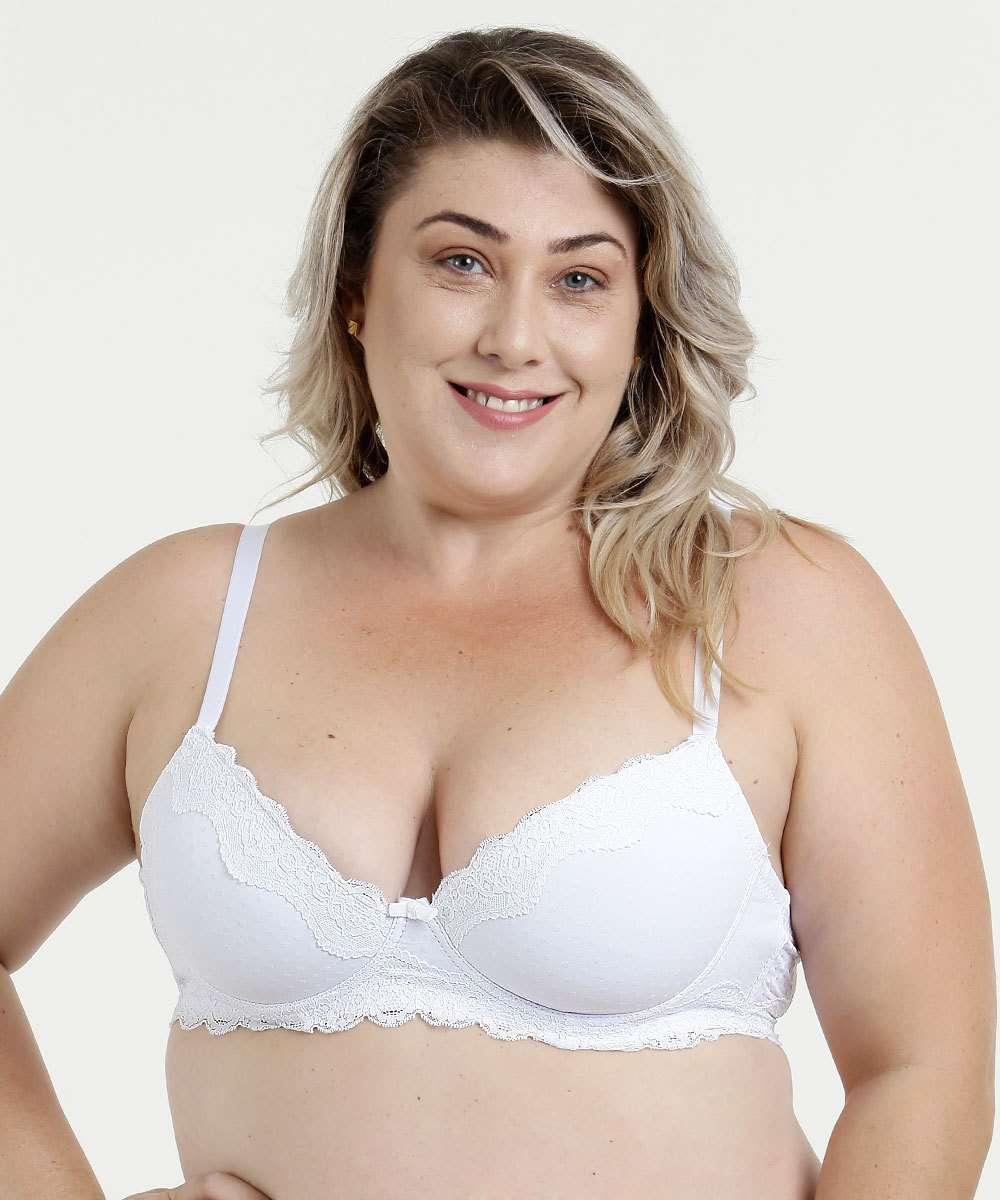 c8b12014c Menor preço em Sutiã Feminino Com Base Renda Flocado Plus Size Marisa