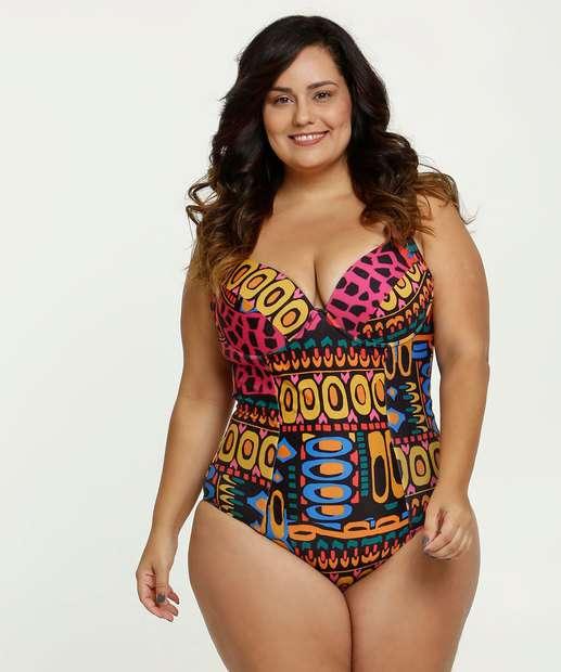 Image_Maiô Feminino Plus Size Estampada Banho de Mar